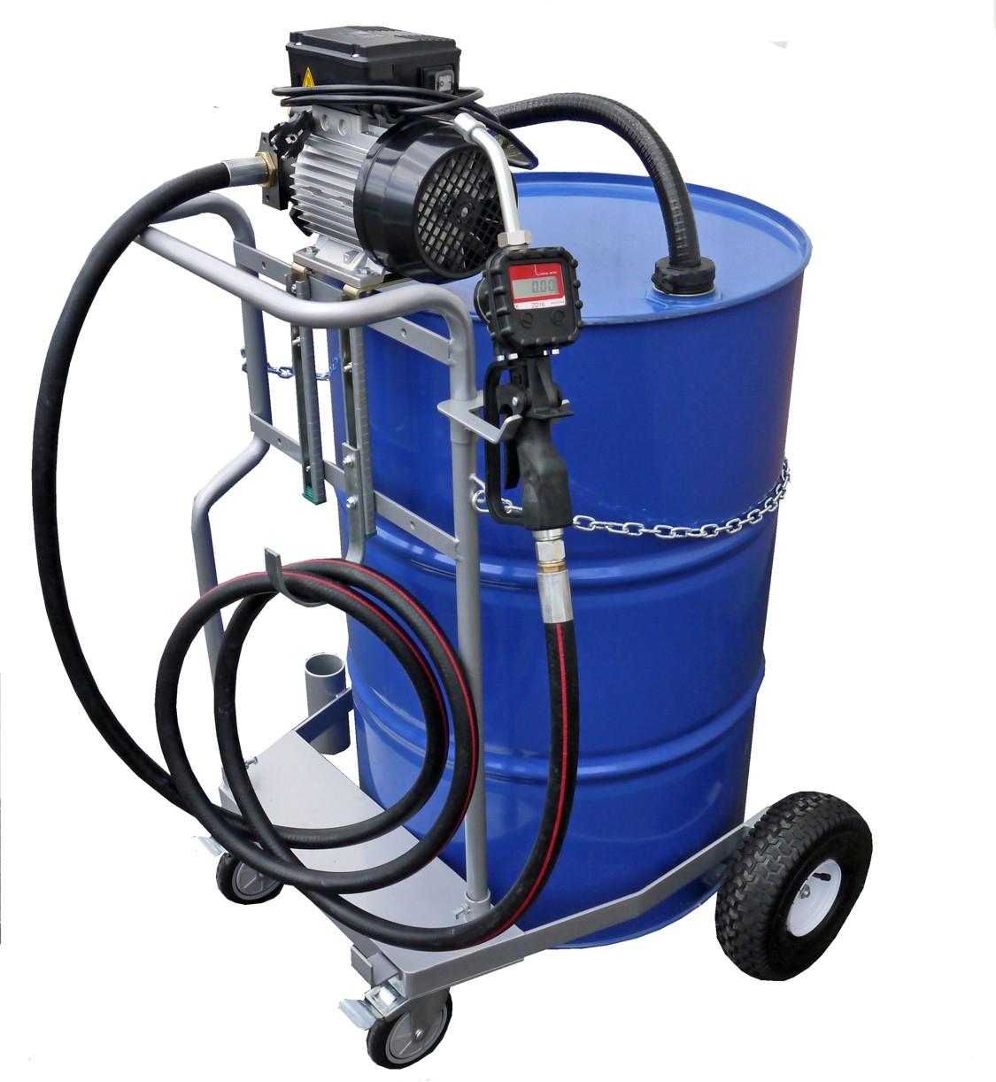 fahrwagen f r 200 liter fass 230v elektropumpe piusi viscomat 70 4m schlauch. Black Bedroom Furniture Sets. Home Design Ideas